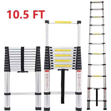 Ktaxon 10.5ft Aluminum Telescopic Step Ladder, Heavy Duty Multi Purpose Multifunction Extension Scalable Economic Simple Scaffold Ladder, for Home Loft Attic Use