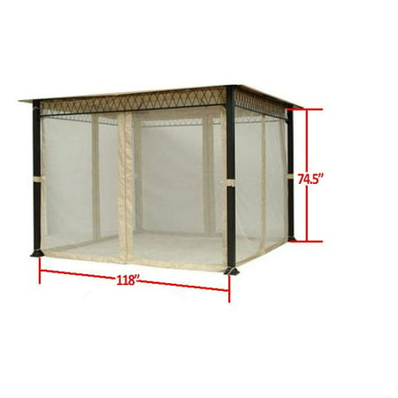Garden Winds Universal Replacement Mosquito Netting Set for 10x10 Gazebos