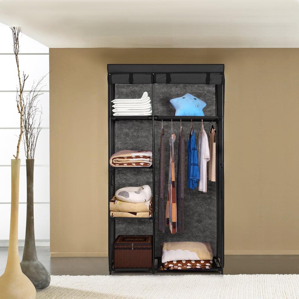 iKayaa Fashion Portable Fabric Closet Wardrobe Cabinet Roll Up ...