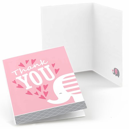 Pink Elephant Girl Baby Shower Or Birthday Party Thank You Cards