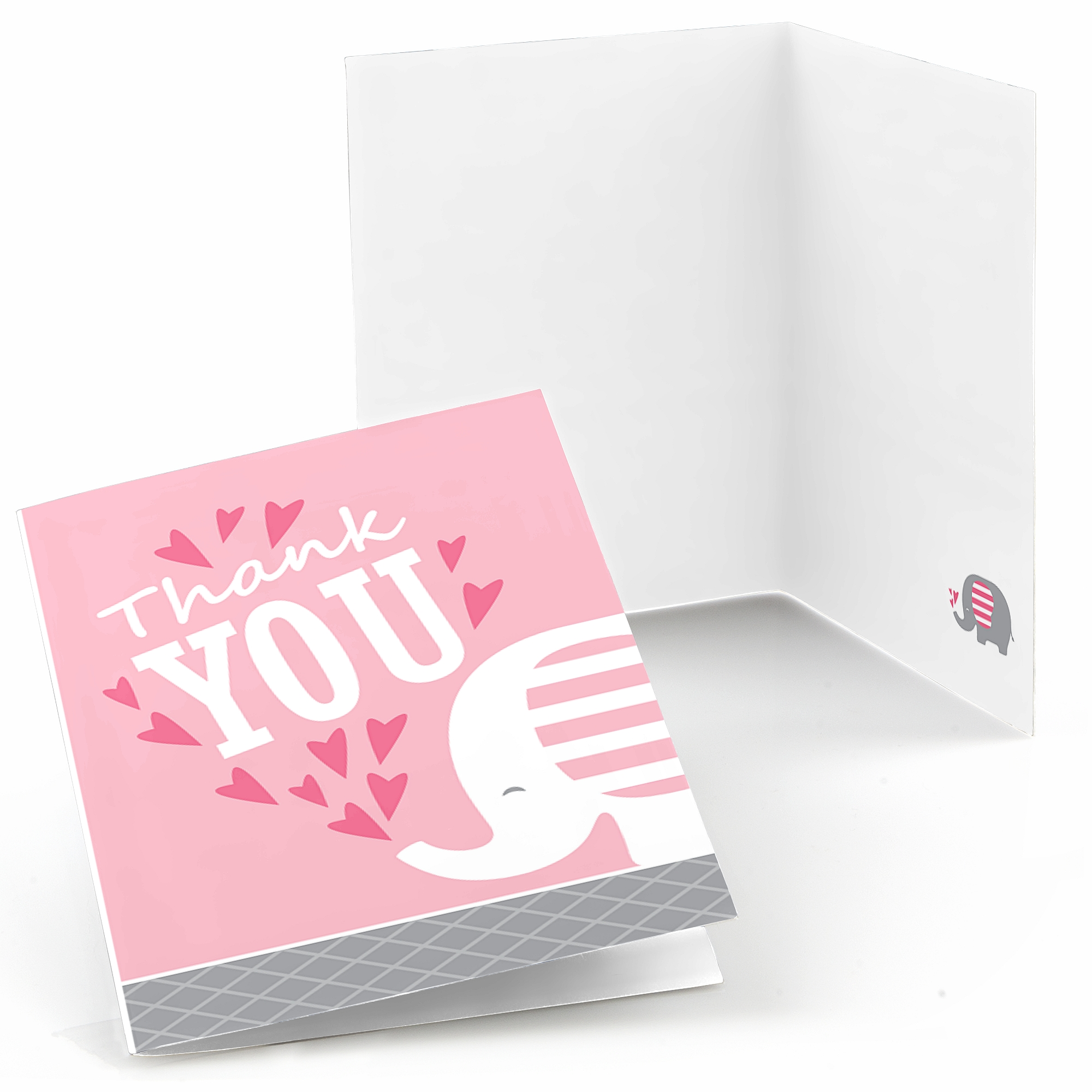 Pink Elephant - Girl Baby Shower or Birthday Party Thank You Cards (8 count)