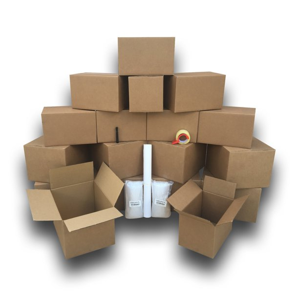 uBoxes Moving Supplies - 1 Room Basic Kit -18 Moving Boxes, Bubble, & Tape
