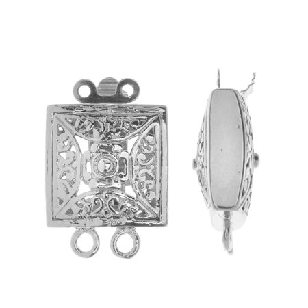 Box Clasp, 2-Strand Filigree Square Design 21.5x14.5mm, 2 Sets, Platinum Tone