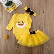 Puloru Girl Skirt Suit Pattern Printed Jumpsuit Bowknot Headband Yarn Dress Set