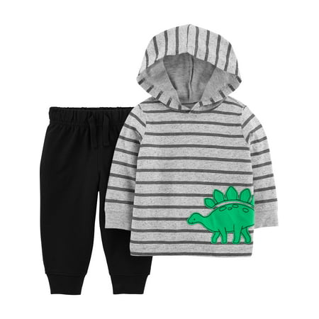 Child of Mine by Carters Baby Boy Long Sleeve Hooded Shirt and Pant Set, 2 pc set