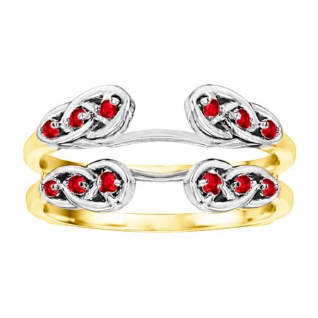 - Ruby Mounted In Sterling Silver Infinity Celtic Ring Guard Enhancer (0.24ctw)