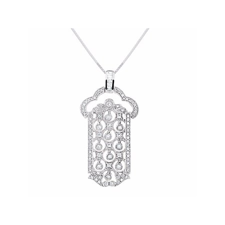 bdca26a3b95db Spectacular Dangling Diamond Pendant Necklace Set in 14K White Gold With  18