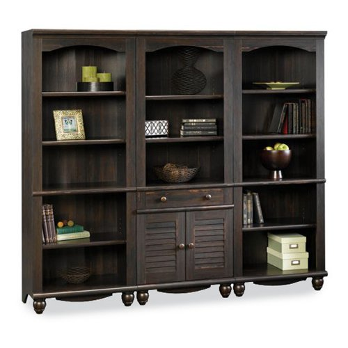 Sauder Harbor View Bookcase Wall - Antique Black