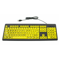 Big & Bright EZ See Keyboard - USB Wired - High Contrast Yellow With Black Oversized Letters - Low Vision Visually Impaired Keyboard For Seniors or Bad Visions