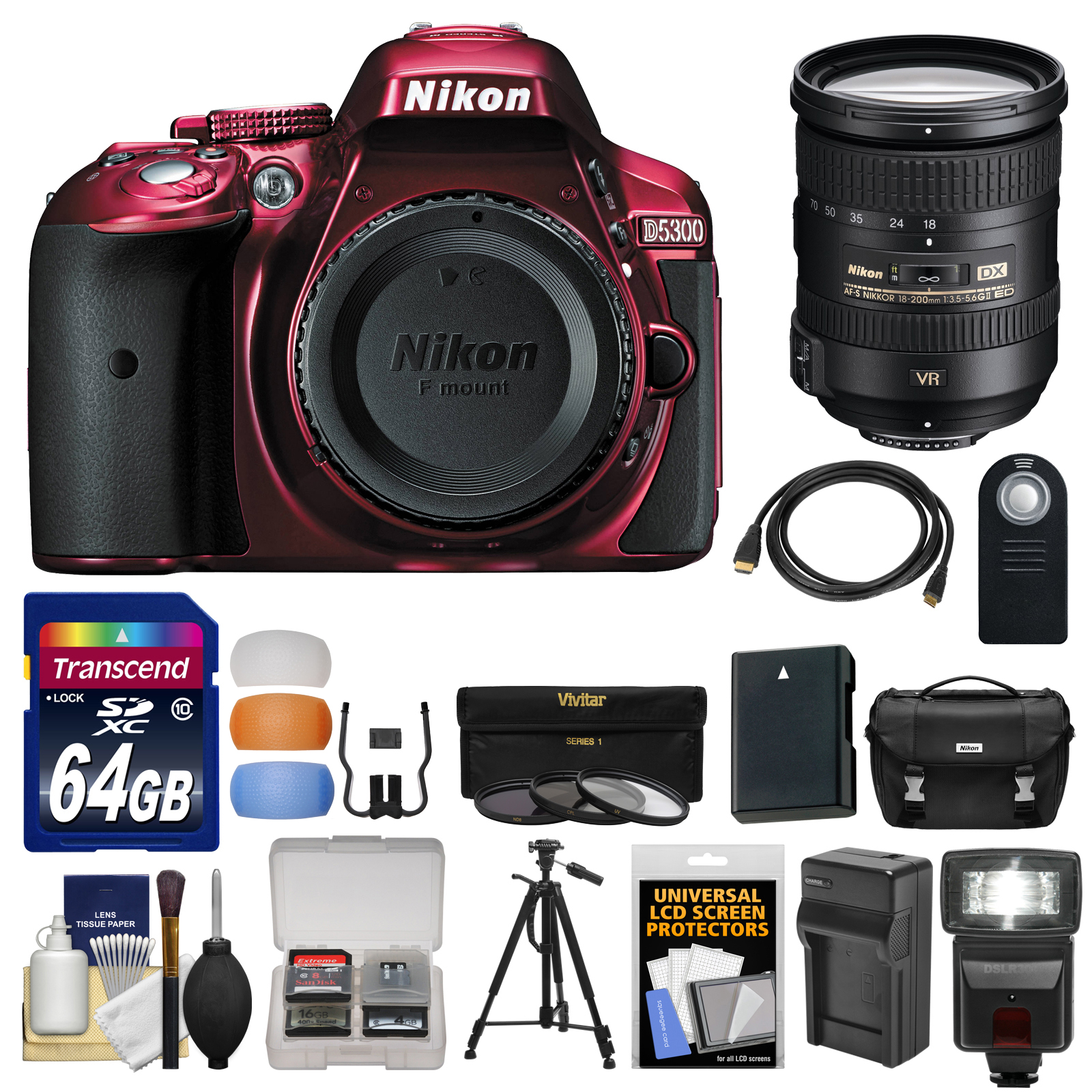 Nikon D5300 Digital SLR Camera Body (Red) with 18-200mm VR II Zoom Lens   64GB Card   Case   Flash   Battery/Charger   Kit