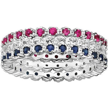 Sterling Silver Eternity of Color Ring Set