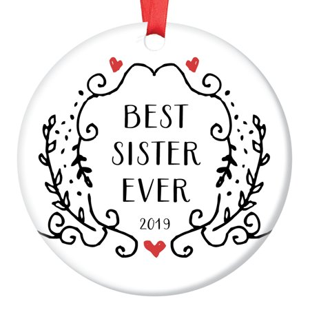 "Sister Gifts Christmas Ornament 2019 Dated Keepsake Big Little Sis Stepsister Friendship Present Idea Sorority Pretty Hand Drawn Greenery Black and White Simple 3"" Ceramic Tree Decoration OR01053 ()"