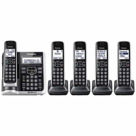 e1681157edc8a Refurbished Panasonic KX-TG885SK 5 Handset Cordless Phone w/ DECT 6.0  Technology & Talking Caller ID - Walmart.com