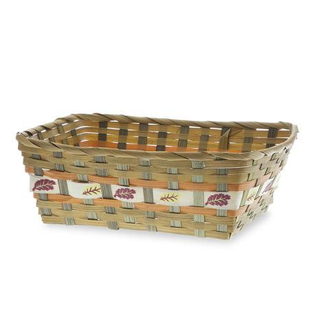 Rect Bamboo Fall Leaf Design Tray Basket 11in - Fall Leaf Basket