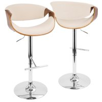 Curvo Mid-Century Modern Adjustable Barstool with Swivel in Walnut and Cream by LumiSource