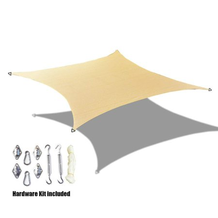 HDPE Rectangle Banha Beige Sun Shade Sail Permeable Canopy with Hardware kit For Patio Pool Deck Porch Garden 8' x 10' ()