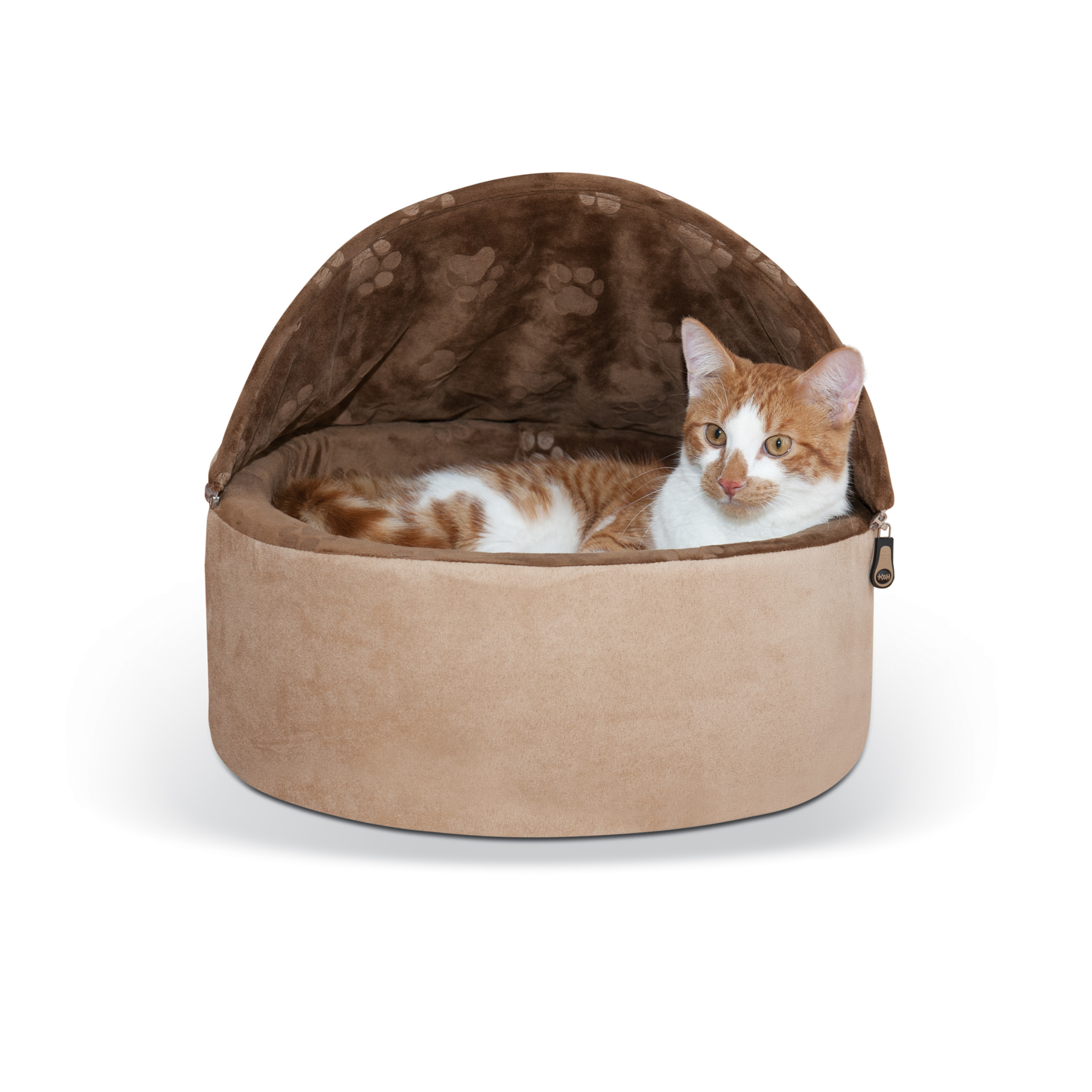 K&H Pet Products Self-Warming Kitty Bed Hooded Small Chocolate/Tan 16""