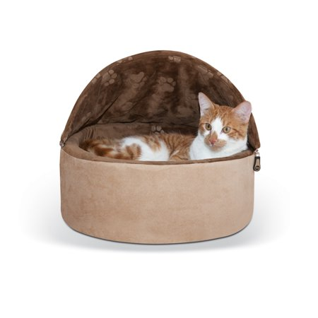 K&H Pet Products Self-Warming Kitty Bed Hooded Small Chocolate/Tan 16u0022
