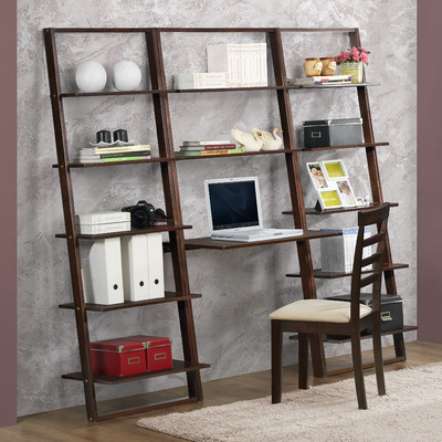 Bundle-62 4D Concepts Arlington 72.4'' Leaning Bookcases and Desk (4 Pieces)