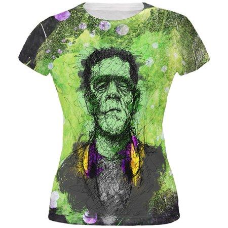Halloween Frankenstein Raver Horror Movie Monster All Over Juniors T Shirt - Frankenstein Halloween Song