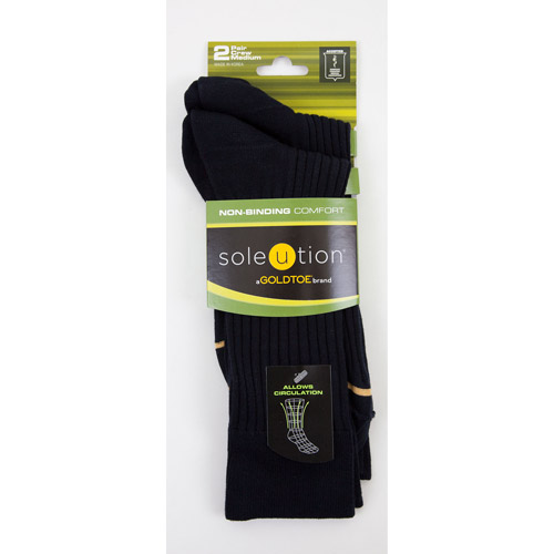 Soleution by GOLDTOE Non-Binding Comfort Men's Combed Cotton Crew, 2-pair Socks