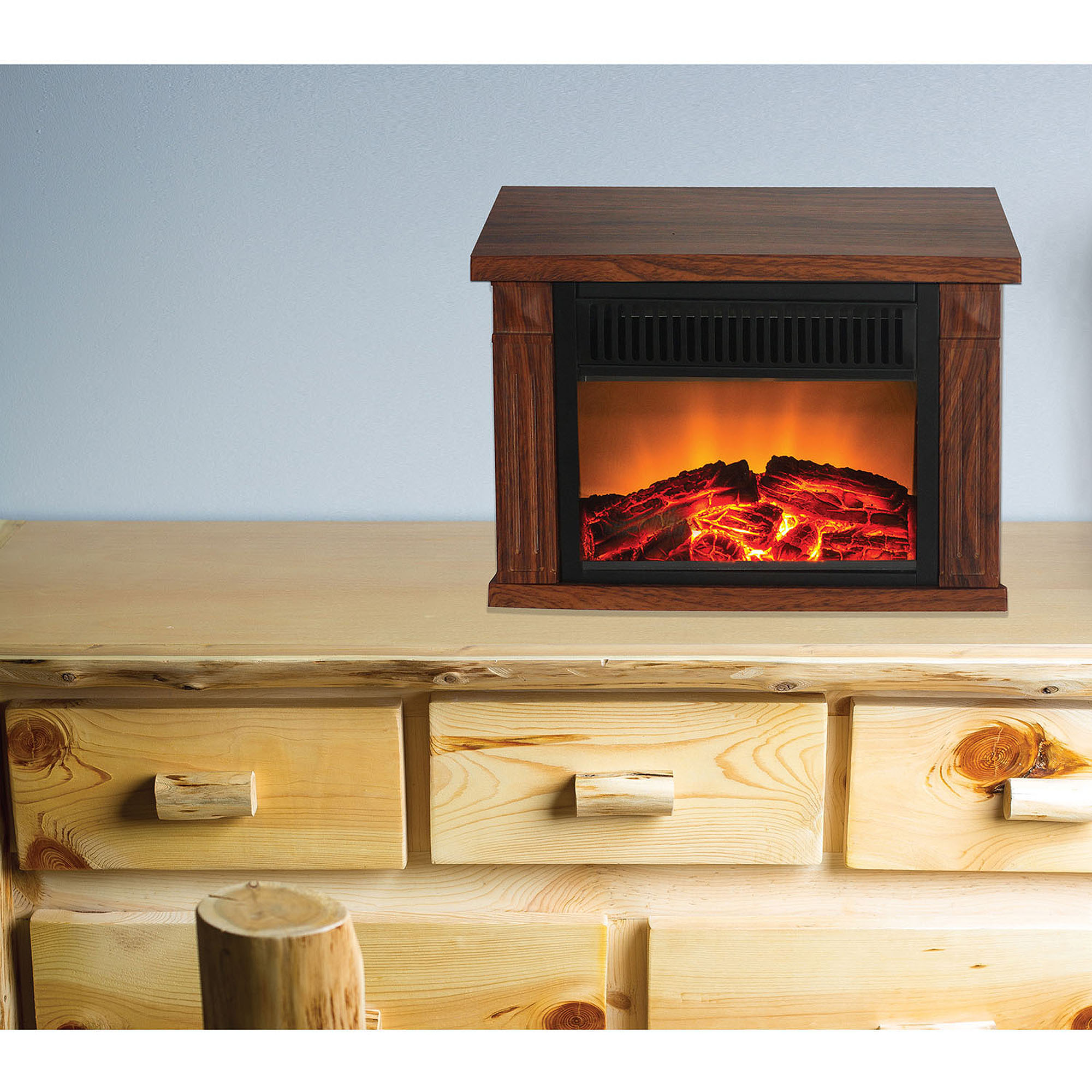 Warm House TZRF-10344 Zurich Tabletop Retro Electric Fireplace - Medium Wood-Print Finish