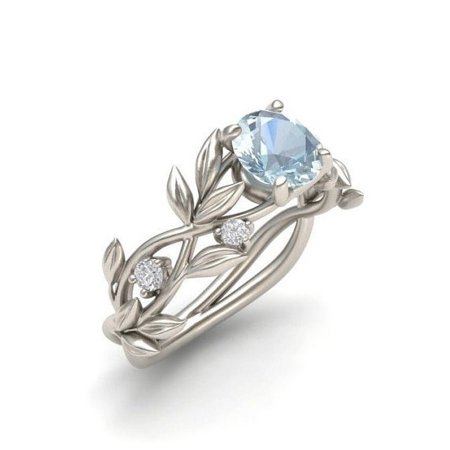 Women Floral Ring Transparent Rhinestone Lucky Flower Vine Leaf Rings Size 6 - 10 - Rhinestone Rings