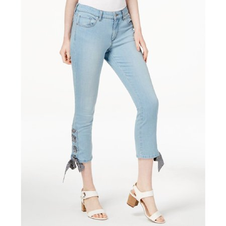 maison Jules Womens Lace Up Ankle Skinny Fit Jeans, Blue, 4