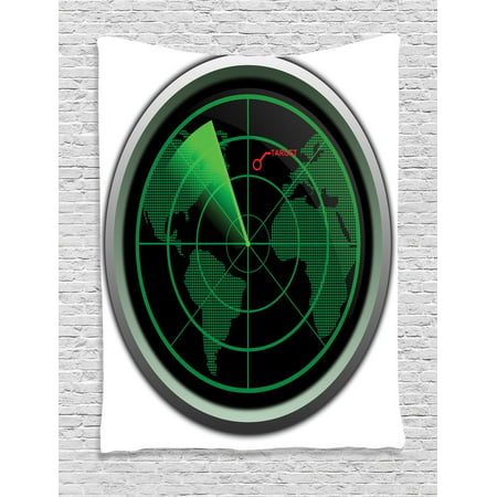 Airplane Decor Wall Hanging Tapestry, Military Radar Screen Global Defense Danger Detecter Scanner Signal System Graphic, Bedroom Living Room Dorm Accessories, By Ambesonne