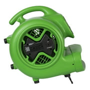 Xpower X-600A-Green 0.33 HP 2400 CFM 3-Speed Air Mover, Carpet Dryer Floor Fan Blower with Built-in GFCI Power Outlets, Green