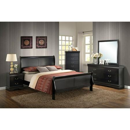 Victorian Bedroom Suite - Cambridge Piedmont 5-Piece Bedroom Suite in Black with Full Bed, Dresser, Mirror, Chest and Nightstand
