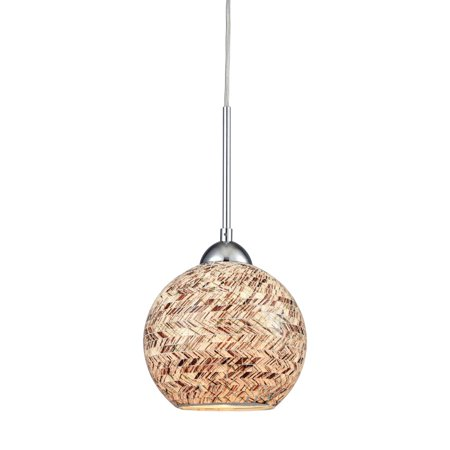 Crosshatch 1 Light Pendant In Polished Chrome With Painted Crosshatch Mosaic Glass - image 1 de 1