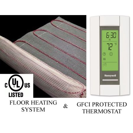 50 Sqft Warming Systems 120 V Electric Tile Radiant Floor Heating Mat with GFCI Protected Programmable Thermostat