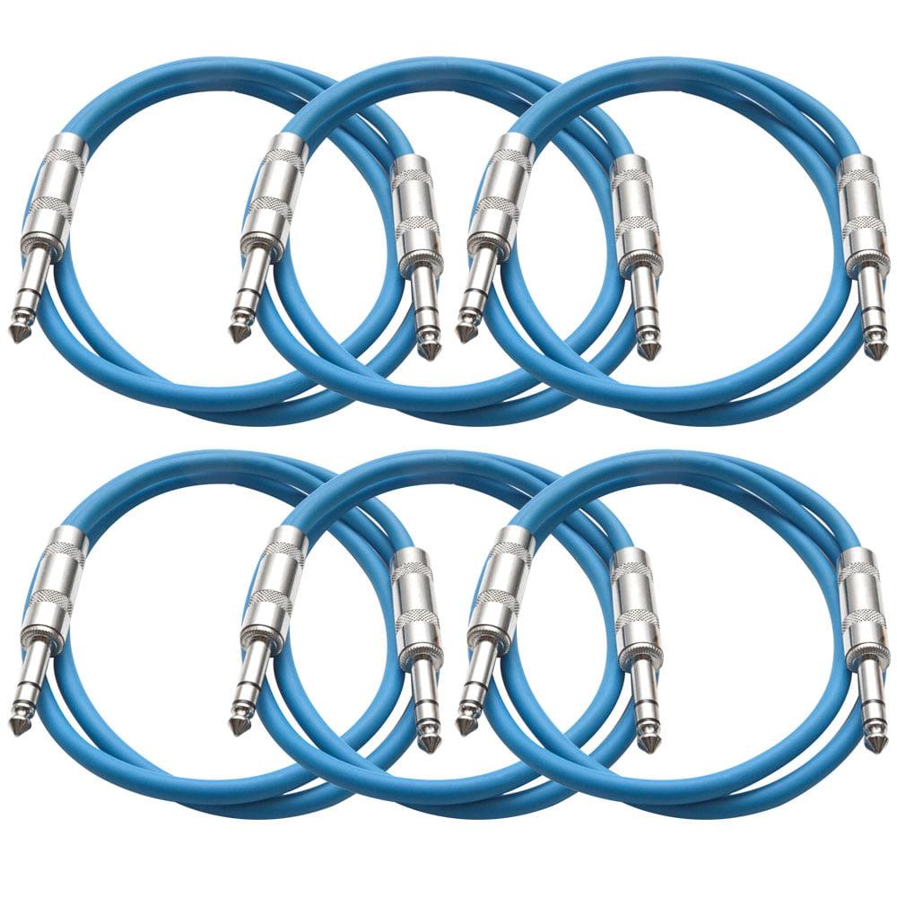 "Seismic Audio  New 6 PACK Blue 1/4"" TRS 2' Patch Cables Blue - SATRX-2Blue6"