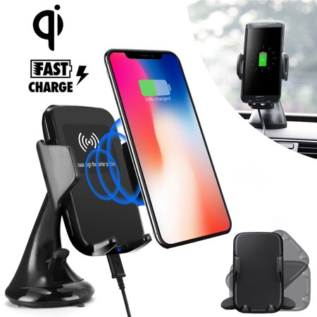 Fast Qi Wireless Car Charger Mount, Quick Charging Car Dashboard Windshield Phone Holder for Samsung Galaxy Note 9/8 S10/S10E/S9/S8/S7 Edge, iPhone XS/XR/ X/8 Plus and more