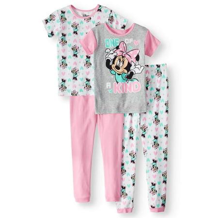 Girls' Minnie Mouse 4-Piece Pajama Sleep Set (Minnie Mouse Adult Onsie)
