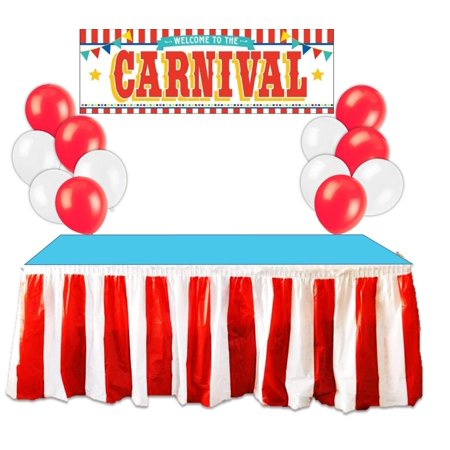 Kedudes Carnival Circus Party Supplies Decorations - Red and White Striped Table Skirt, Plastic Carnival Banner with 10 Red Balloons and 10 White Balloons - Carnival Supplies
