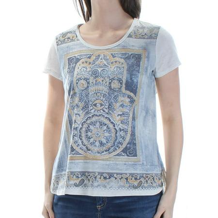 STYLE & COMPANY Womens Navy Lotus Hand Short Sleeve Jewel Neck T-Shirt Top Petites  Size: S (Jewel Styles)