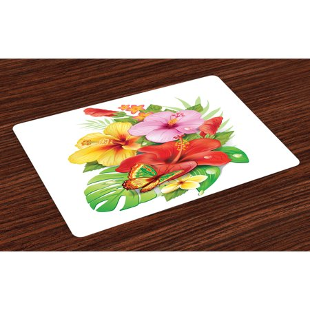 Hawaiian Placemats Set Of 4 Bouquet Of Colorful Hibiscus