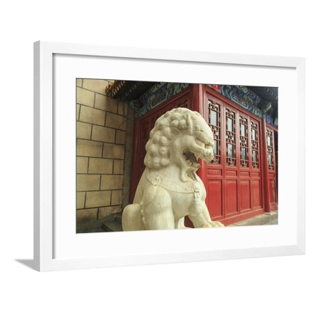 Lion Statue, Tea Shop Near Shopping Area, Southern Central Area of Beijing, China Framed Print Wall Art By Stuart Westmorland ()