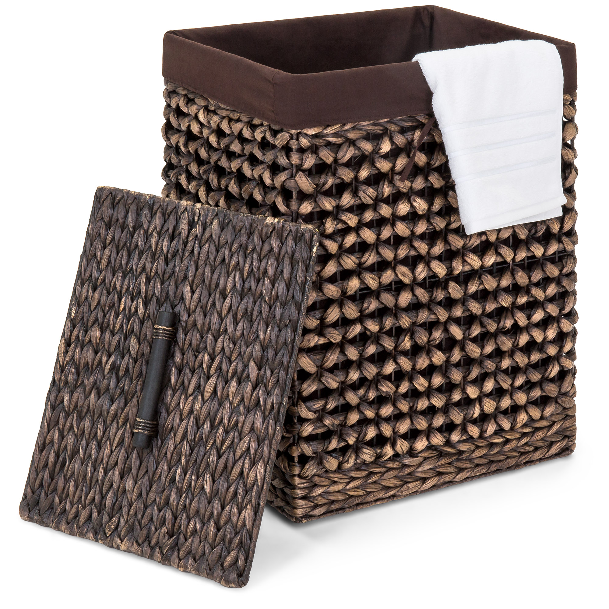 Set of 4 Brown Woven Storage Baskets Removable Linen Liners Durable Metal Frame