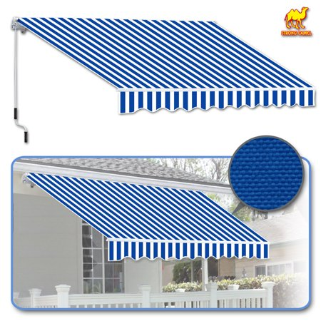 Strong Camel 8' x 6.6' Manual Yard Retractable Patio Deck Awning Cover, Canopy Sunshade (Blue with white)