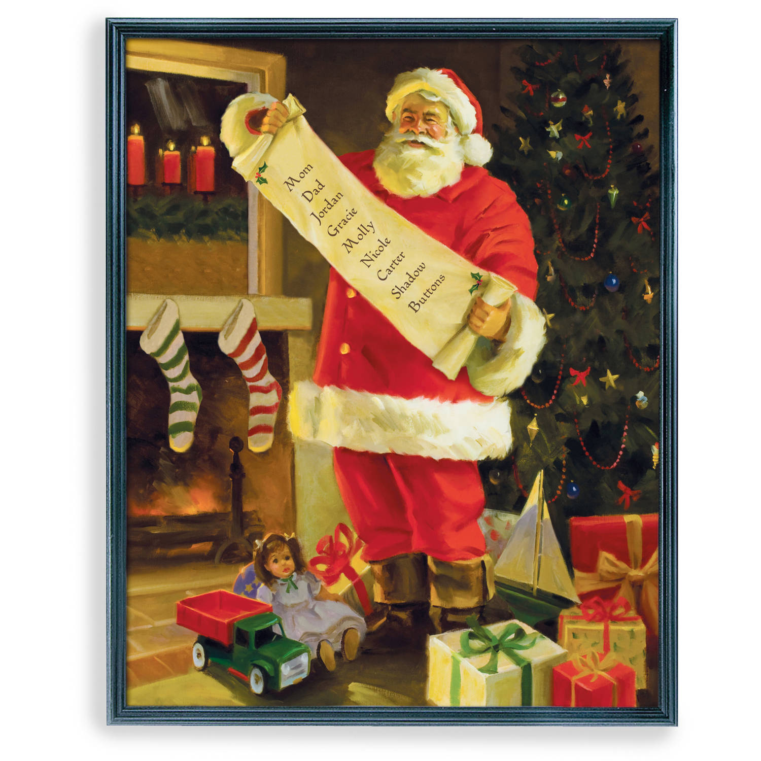 Personalized Framed Santa's List Canvas Framed Art, Available in Multiple Sizes