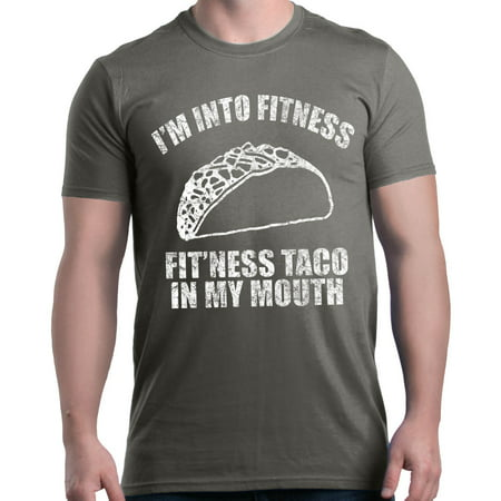 Shop4Ever Men's I'm Into Fitness Fit'ness Taco In My Mouth Graphic T-shirt (La Fitness Shirt)