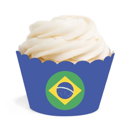 Global World Flag Party Collection, Round Cupcake Wrappers, Brazil, 20-Pack](Brazilian Party)