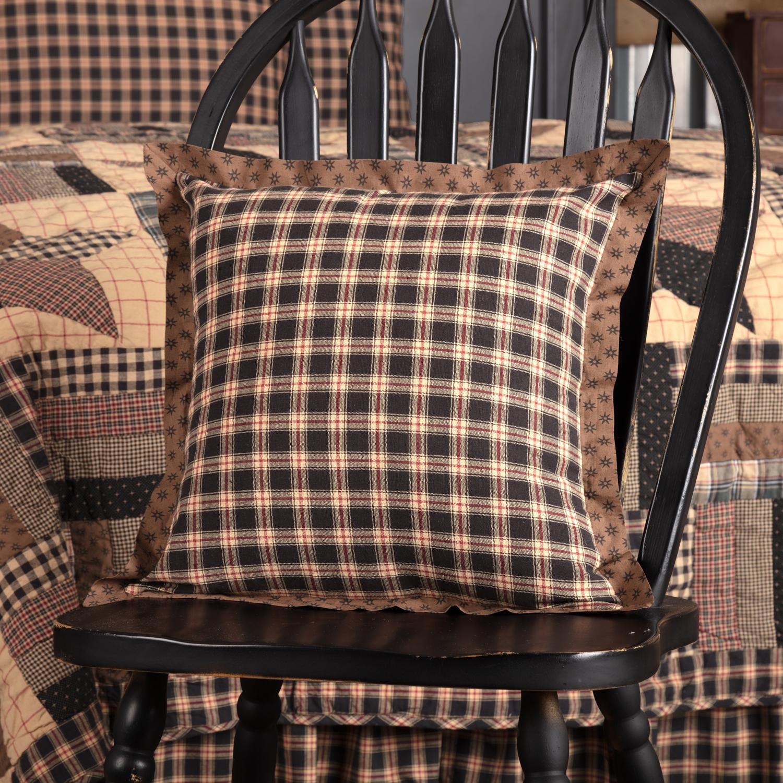 Soft Black Classic Country Bedding Denton Cotton Plaid Square Pillow (Pillow Cover, Pillow Insert)