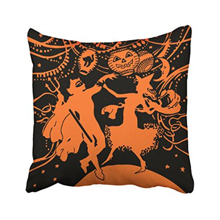 WinHome Abstract Vintage Fashion Happy Halloween Dancing Costume Party Orange And Black Polyester 18 x 18 Inch Square Throw Pillow Covers With Hidden Zipper Home Sofa Cushion Decorative Pillowcases (Throw A Halloween Party On The Cheap)