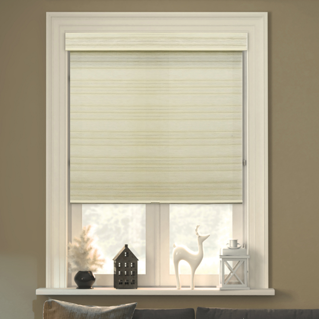 "Chicology Free-Stop Cordless Roller Shades, No Tug Privacy Window Blind, Cabana Sand (Privacy & Natural Woven) - 23""W X 72""H"