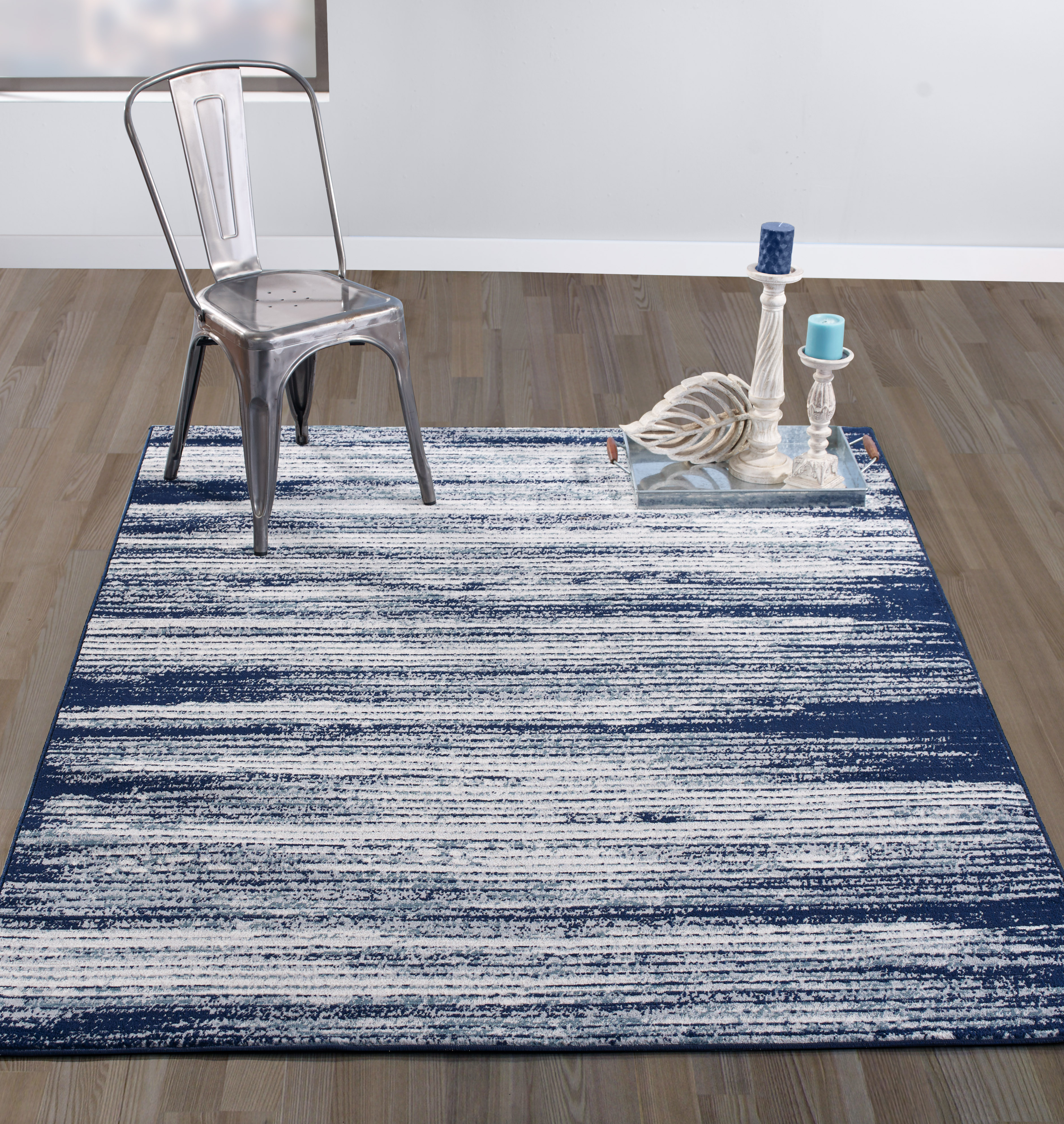 "Diagona Designs Contemporary Stripes Design Modern 8' by 10' Area Rug, 7'10"" W x 9'10"" L Ivory / Navy / Teal"