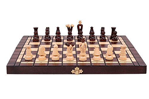 "Chess and Checkers (Draughts) Set Hand Crafted Wooden Pieces, Board with Storage 13,7"" x 13,7""... by ChessCentral"
